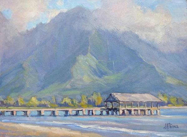 Surfer Painting - Hanalei Pier Sunset by Jenifer Prince