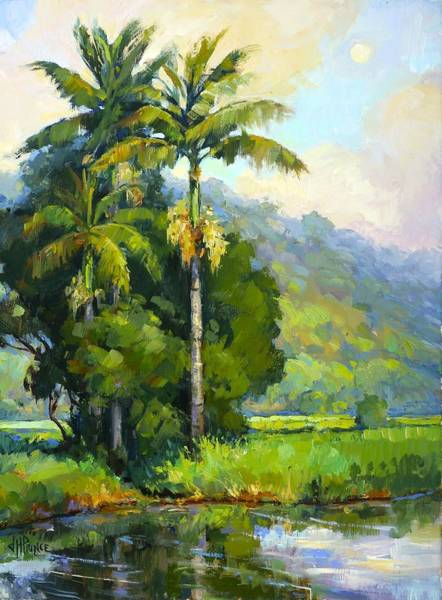 Wall Art - Painting - Hanalei River Moonrise by Jenifer Prince