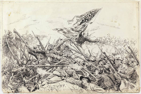 Angle Drawing - Hancock's Corps Assaulting The Works At The Bloody Angle by William Brooke Thomas Trego