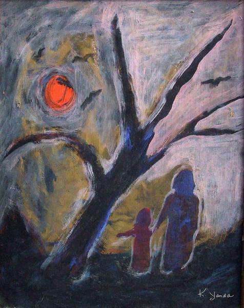 Painting - Hand In Hand Walk Under The Moon by Katt Yanda