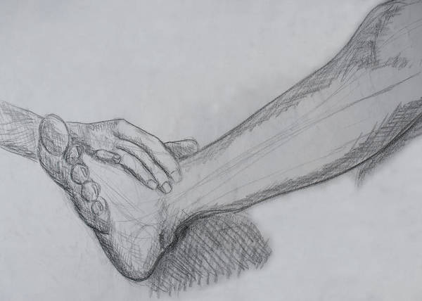 Drawing - Hand And Leg Sketch by M Valeriano