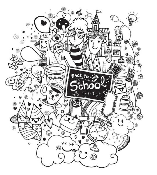 Back-to-school Digital Art - hand drawn Back to school doodle set by Pakpong Pongatichat