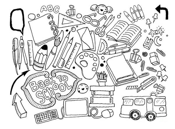 Back-to-school Digital Art - Hand Drawn Doodle Stationery Set, Illustrator Line Tools Drawing by Pakpong Pongatichat