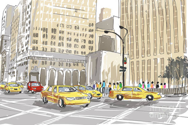 Wall Art - Photograph - Hand Drawn Sketch Of A Busy New York City Street by Jorgo Photography - Wall Art Gallery