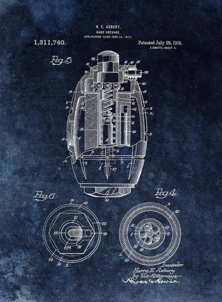 Battlefield Mixed Media - Hand Grenade Patent Drawing by Dan Sproul