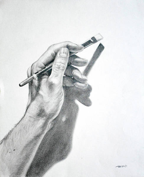 Drawing - Hand Holding Brush by Christopher Reid