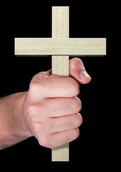 Crucifixion Digital Art - Hand Holding Crucifix by Allan Swart