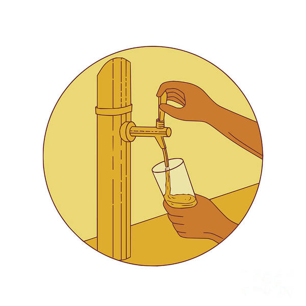 Pouring Digital Art - Hand Holding Glass Pouring Beer Tap Circle Drawing by Aloysius Patrimonio