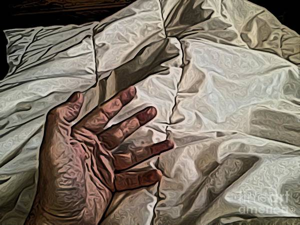 Bedding Digital Art - Hand On Comforter by Ron Bissett