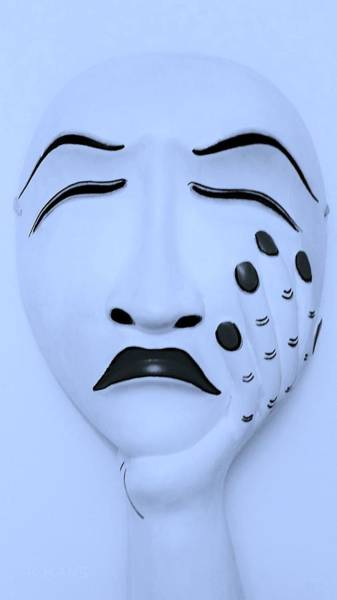 Photograph - Hand On Face Mask Cyan by Rob Hans