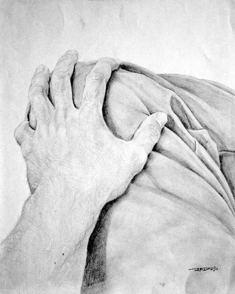 Drawing - Hand On Knee by Christopher Reid