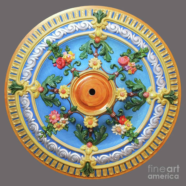 Painting - Hand Painted Ceiling Medallion 26 Inch by Lizi Beard-Ward
