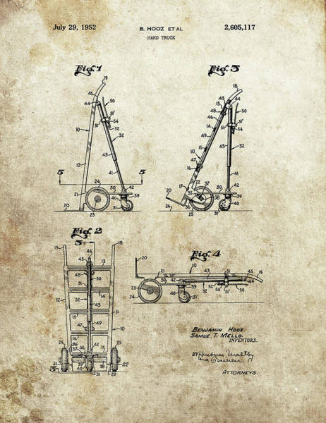 Wall Art - Drawing - Hand Truck Patent by Dan Sproul