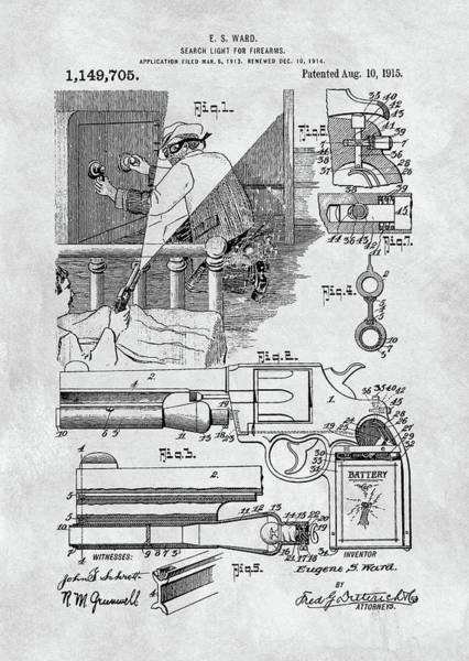 Drawing - Handgun Search Light Patent by Dan Sproul