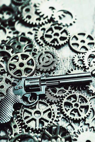 Revolver Photograph - Handguns And Gears by Jorgo Photography - Wall Art Gallery