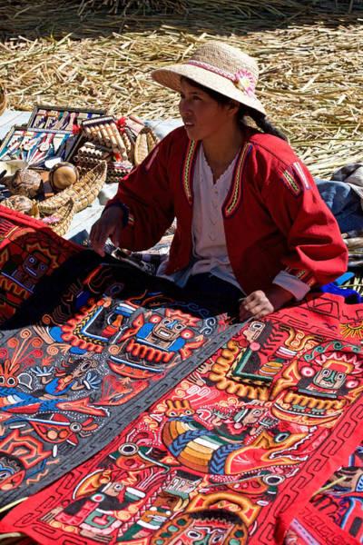 Photograph - Handicraft Selling At Uros Islands by Aivar Mikko