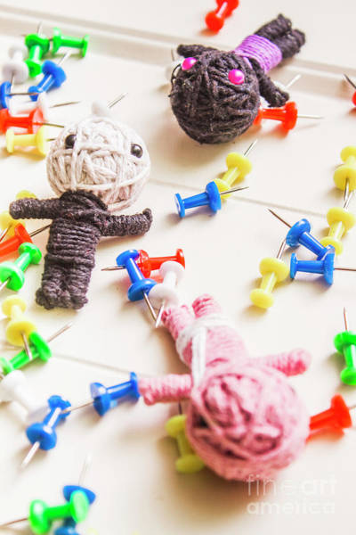 Indoor Photograph - Handmade Knitted Voodoo Dolls With Pins by Jorgo Photography - Wall Art Gallery