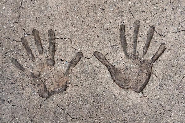 Cement Photograph - Handprints by Dan Holm