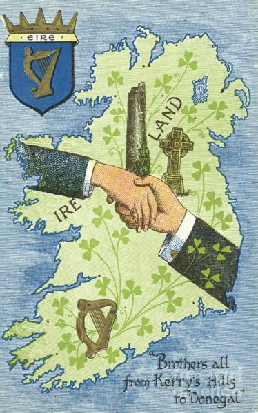 St Painting - Hands Shaking Across Ireland by Irish School