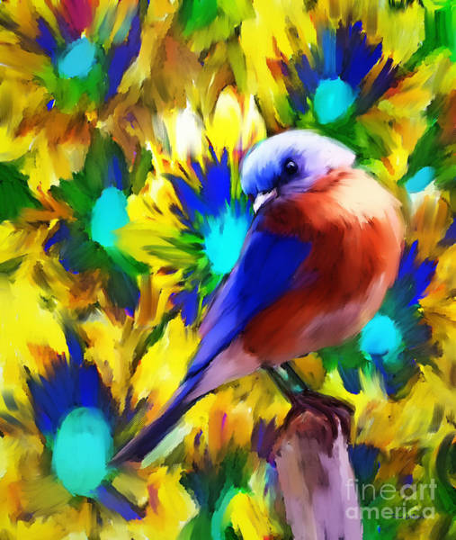 Wall Art - Painting - Handsome Bluebird by Tina LeCour