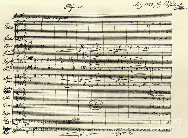 Handwritten Manuscript Score For Kyrie For The Mass In A Flat And E Flat Major Art Print