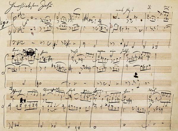 Choral Wall Art - Drawing - Handwritten Score For Herzliebster Jesu, Chorale Prelude Number 2 by Johannes Brahms