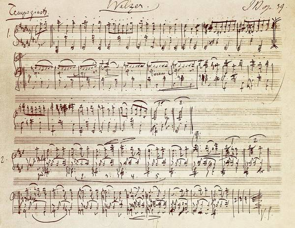 Writing Drawing - Handwritten Score For Waltz For Piano, Opus 39 by Johannes Brahms