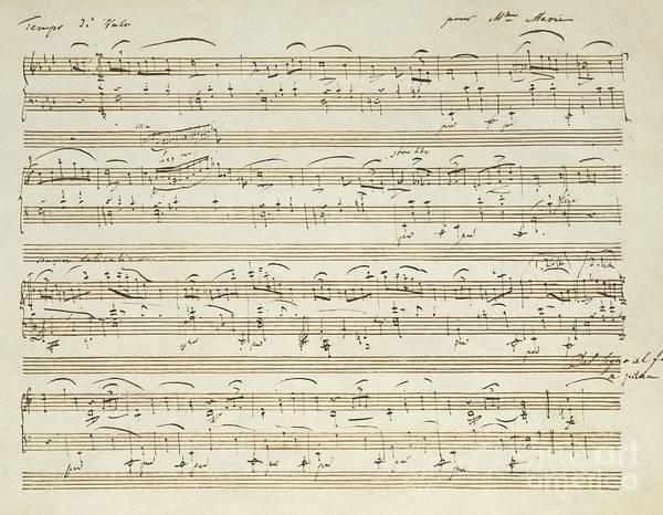 Staff Wall Art - Drawing - Handwritten Score For Waltz In Flat Major by Frederic Chopin