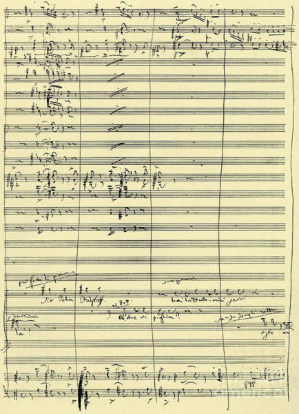 Wall Art - Drawing - Handwritten Score From Falstaff  by Giuseppe Verdi