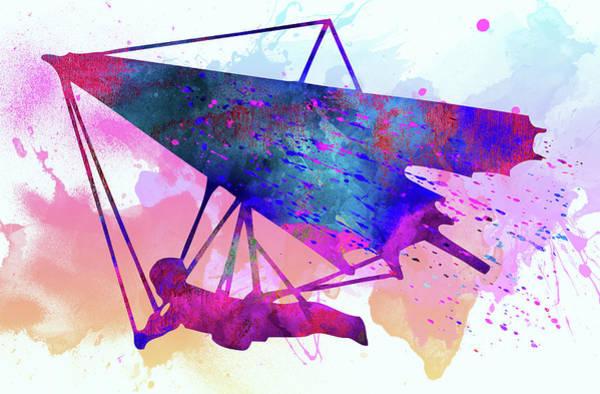 Sportsman Digital Art - Hang-gliders by Elena Kosvincheva