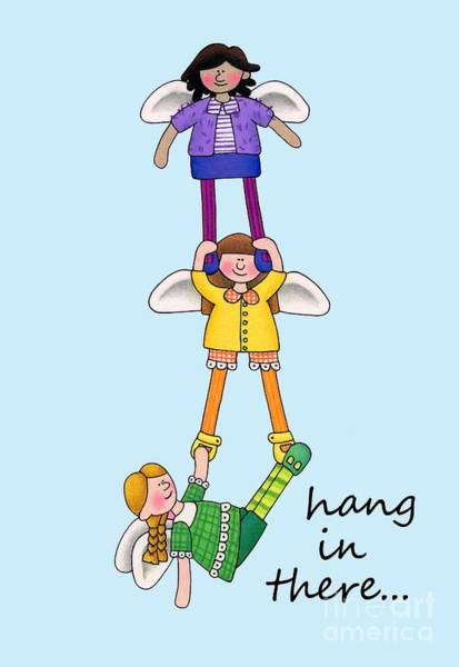 Friendship Drawing - Hang In There Angels by Sarah Batalka