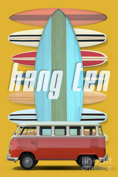 Surfer Digital Art - Hang Ten Surfboard Surfer Van by Edward Fielding