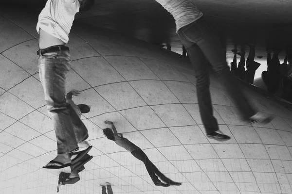 Photograph - Hanging Around The Bean In Millennium Park Black And White by David Coblitz