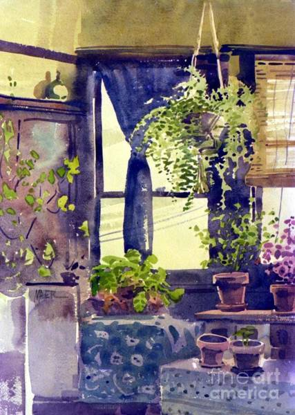 Potted Plant Painting - Hanging Ferns by Donald Maier