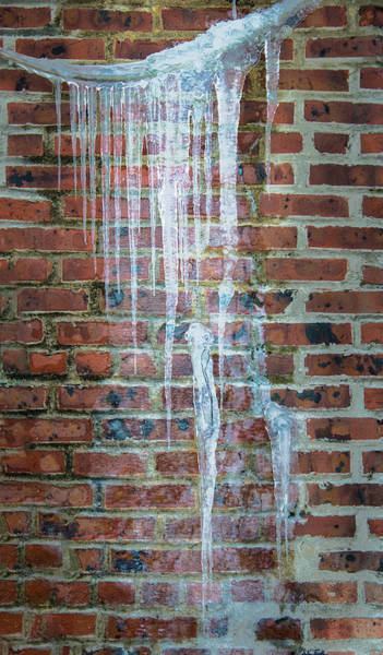Photograph - Hanging Ice And Brick Wall by Gary Slawsky