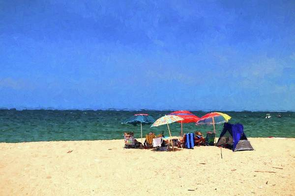 Photograph - Hanging Out Under The Beach Umbrellas At The Beach  by Carol Montoya