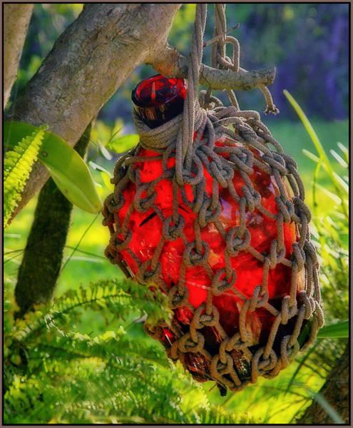 Photograph - Hanging Red Bottle Garden Art by Ginger Wakem