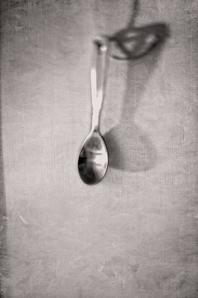 Wall Art - Photograph - Hanging Spoon On Jute Twine In Bw by YoPedro
