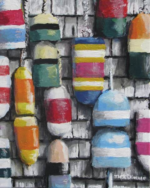 Wall Art - Painting - Hanging With The Buoys by Jack Skinner