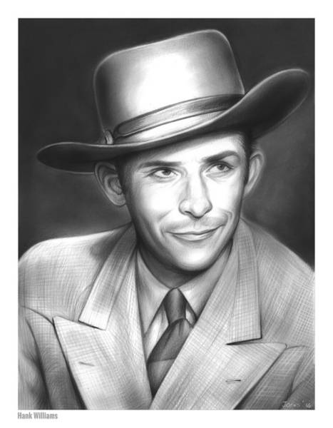 Drawing - Hank Williams by Greg Joens