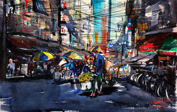 Vietnamese Painting - Hanoi Street Vendor by James Nyika
