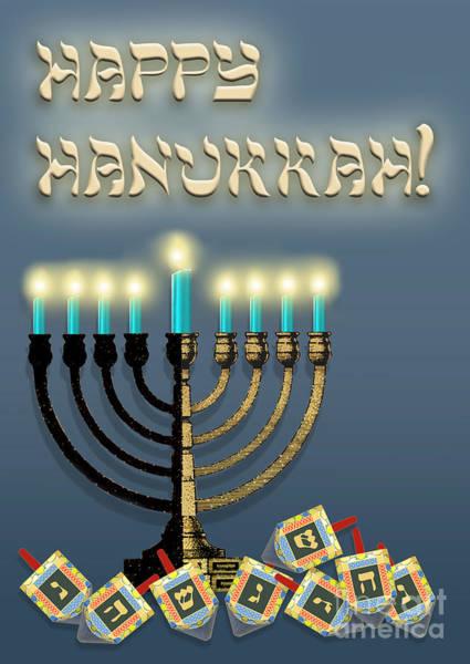 Judaica Digital Art - Hanukkah Menorah And Dreidels by Melissa A Benson