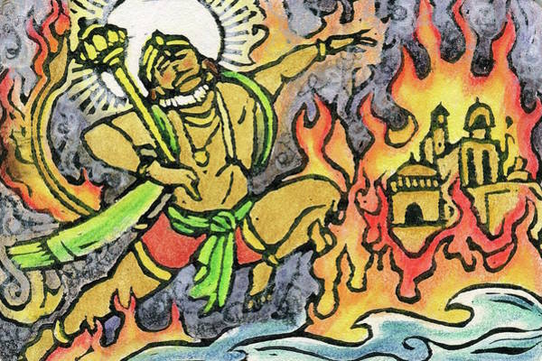 Wall Art - Mixed Media - Hanuman Leaps Through Lanka by Jennifer Mazzucco