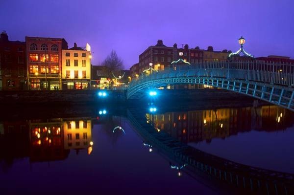 Horizontally Photograph - Hapenny Bridge, Dublin, Ireland by The Irish Image Collection