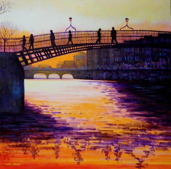 Wall Art - Painting - Ha'penny Bridge Dublin by John  Nolan