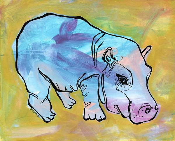 Painting - Happily Hippo by Darcy Lee Saxton