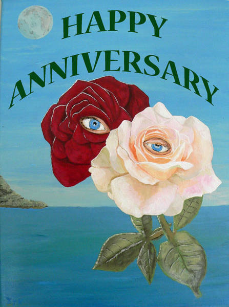 Painting - Happy Anniversary Roses by Eric Kempson