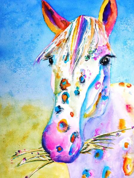 White Horse Wall Art - Painting - Happy Appy by Carlin Blahnik CarlinArtWatercolor