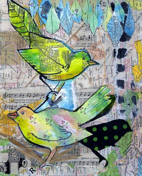 Mixed Media - Happy Birds by Jillian Goldberg