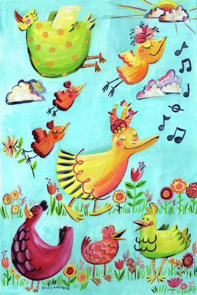 Wall Art - Painting - Happy Birds by Kristy Lankford
